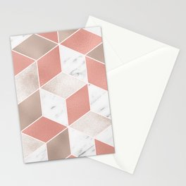 Summer peach marble geometry Stationery Cards