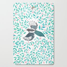 Magpie and Berry Branches Cutting Board