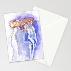 Jellyfish watercolor Stationery Cards