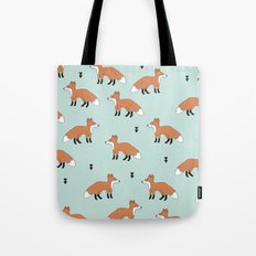 Cute fall woodland smiling foxes illustration pattern Tote Bag
