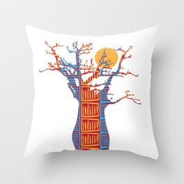 African Baobab tree of life at Sunset Throw Pillow