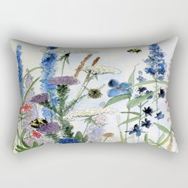 Wildflower in Garden Watercolor Flower Illustration Painting Rectangular Pillow