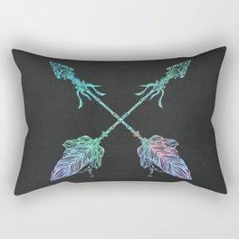 Tribals Arrows Turquoise on Gray Black Rectangular Pillow