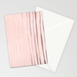 Rose Gold Pastel Pink Vertical Stripes Stationery Cards