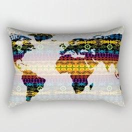 Tribal World Map Rectangular Pillow