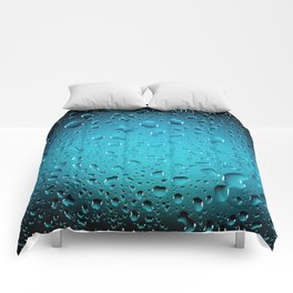 Stylish Cool Blue water drops Comforters