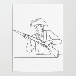 American Minuteman Patriot Continuous Line Poster