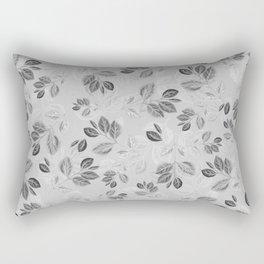 Black and White Leaves Pattern #2 Rectangular Pillow