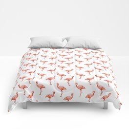 Simply Pink Flamingo in Deep Coral on White Comforters