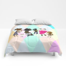 PASTEL COLOR FASHIONISTA CATS Comforters