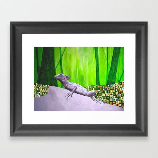 lizard in magic forest Framed Art Print