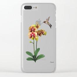 Hummingbird & Phalaenopsis Clear iPhone Case