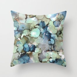 Alcohol Ink Sea Glass Throw Pillow