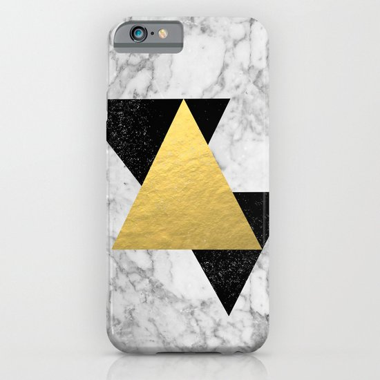 Marble Tri Black & Gold - gold foil, gold, marble, black and white, trendy, luxe, gold phone iPhone & iPod Case