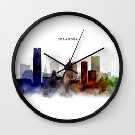 Oklahoma Watercolor Skyline Wall Clock