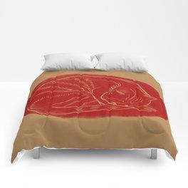 sleeping cat Comforters