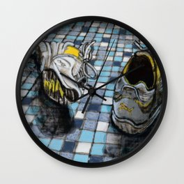 Running Shoes on a Blue Tile Floor Wall Clock