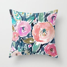 GARDENS OF CAPITOLA Watercolor Floral Throw Pillow