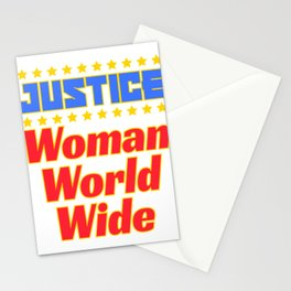 """Cool and creative tee design with text """"Justice Woman World Wide"""". Makes a nice gift! Stationery Cards"""