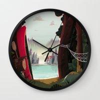 beaver Wall Clocks featuring Camp Beaver by Manuel Kilger