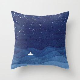 blue ocean waves, sailboat ocean stars Throw Pillow