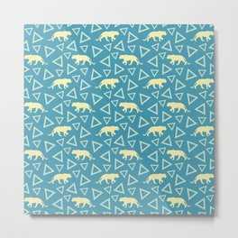 Wild African walking yellow lions and abstract triangle shapes. Stylish whimsical ethnic blue retro vintage geometric animal nature pattern. Metal Print
