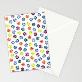 Rainbow Paw Print Pattern Stationery Cards
