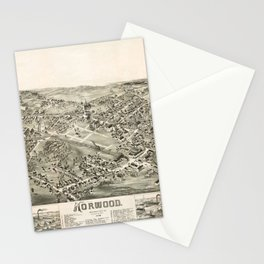 Aerial View of Norwood, Massachusetts (1882) Stationery Cards