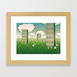 that in scare flew away to a forest with high grey trees. Framed Art Print