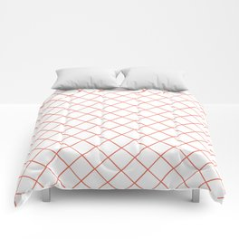 Pantone Living Coral Thin Line Stripe Grid (Pinstripe Pattern) on White Comforters