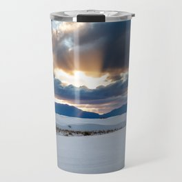 One More Moment - Sunbeams Burst From Clouds Over White Sands New Mexico Travel Mug