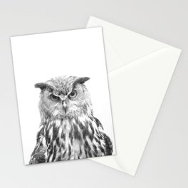 Black and white owl animal portrait Stationery Cards