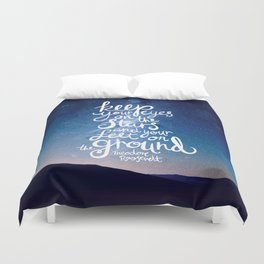 Eyes on the stars quote white lettering Duvet Cover
