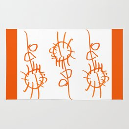 Orange Flowers Childs Drawing Rug