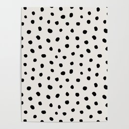 Modern Polka Dots Black on Light Gray Poster