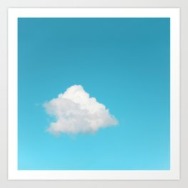 Single Happy Cloud with Blue Sky Art Print