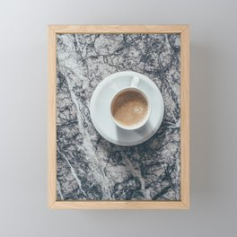 Coffee on Marble Background Framed Mini Art Print