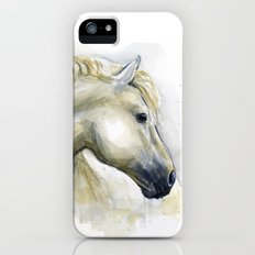 White Horse Watercolor Painting Animal Horses Slim Case iPhone SE