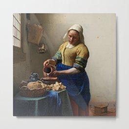 The Milkmaid, Johannes Vermeer, c. 1660 Metal Print