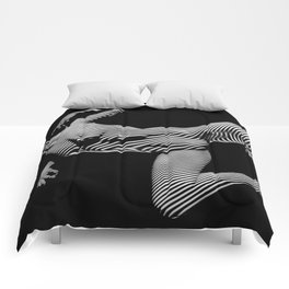 8431-KMA BW Striped Art Nude Woman Open Free Empowered Comforters