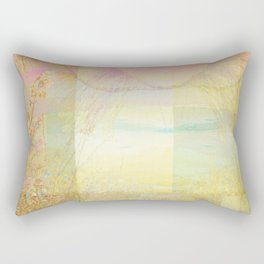 Blossoms Trees Pink Yellow Abstract Rectangular Pillow