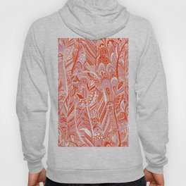 Abstract red coral lilac hand painted bohemian feathers pattern Hoody