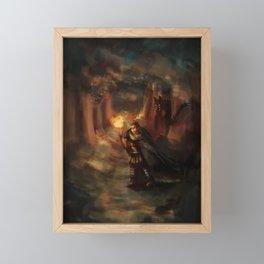 warrior in forest Framed Mini Art Print