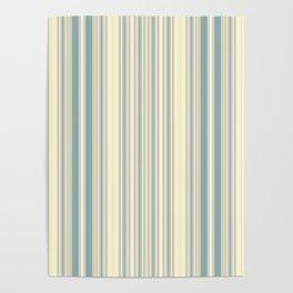 Seafoam Green Yellow Stripes Poster