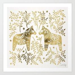 Swedish Dala Horses – Gold Palette Art Print