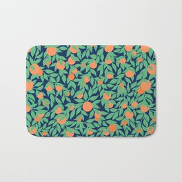 Oranges and Leaves Pattern - Navy Blue Bath Mat