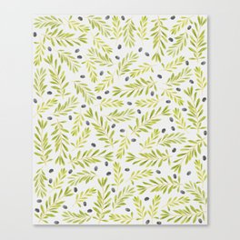 Watercolor Olive Branches Pattern Canvas Print