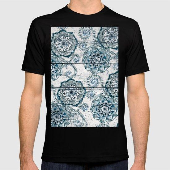 Navy Blue Floral Doodles on Wood T-shirt