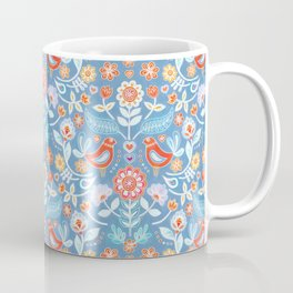 Happy Folk Summer Floral on Light Blue Coffee Mug