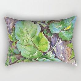 ground beneath my feet in summer: roots, grass, leaves Rectangular Pillow